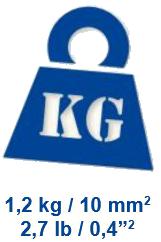 1,2 kg / 10 mm²